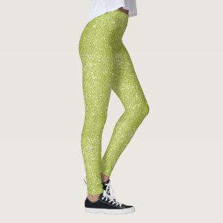 Lime Green Glitter Sparkles Leggings