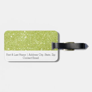 Lime Green Glitter Sparkles Luggage Tag