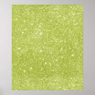 Lime Green Glitter Sparkles Poster