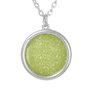 Lime Green Glitter Sparkles Silver Plated Necklace