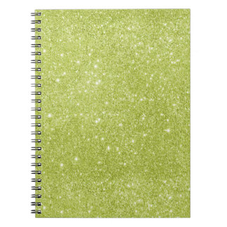 Lime Green Glitter Sparkles Spiral Notebook