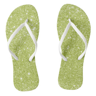 Lime Green Glitter Sparkles Thongs