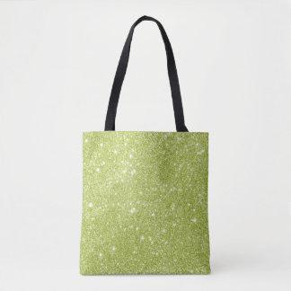 Lime Green Glitter Sparkles Tote Bag