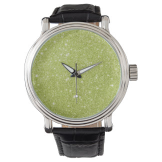 Lime Green Glitter Sparkles Watch