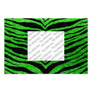 Lime green glitter tiger stripes photo print