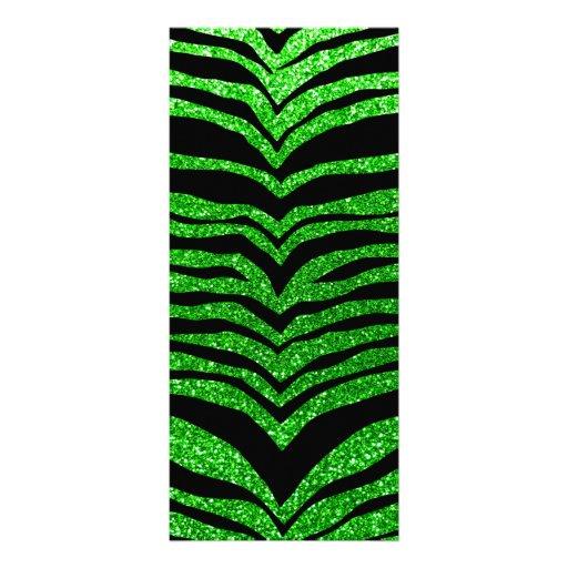Lime green glitter tiger stripes custom rack card
