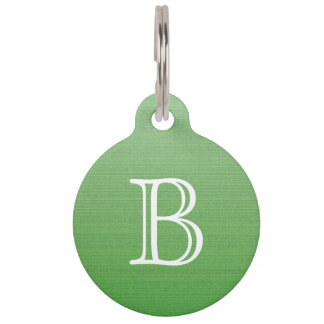 Lime Green Gradient Ombre Medium Texture Monogram Pet Name Tags