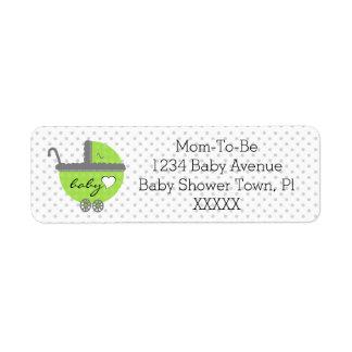 Lime Green & Grey Polka Dots-Baby Shower Return Address Label