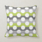 Lime Green Grey White Modern Polka Dot Pattern Cushion