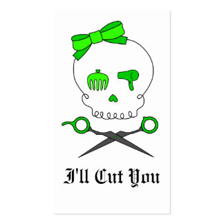 Lime Green Hair Stylist Skull & Scissor Crossbones Business Card