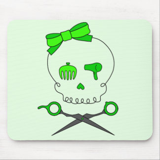 Lime Green Hair Stylist Skull & Scissor Crossbones Mouse Pad
