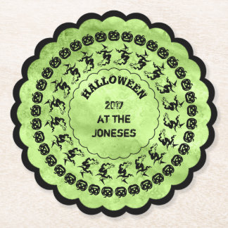 Lime Green Halloween Fun Font Art Circles Paper Coaster