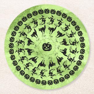 Lime Green Halloween Fun Font Art Circles Round Paper Coaster