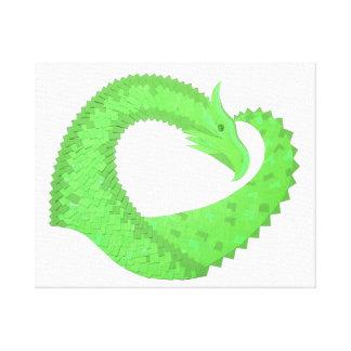 Lime green heart dragon on white canvas print