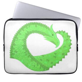 Lime green heart dragon on white laptop sleeve