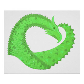 Lime green heart dragon on white poster
