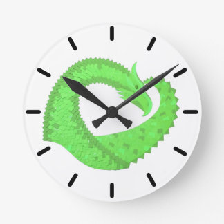Lime green heart dragon on white round clock