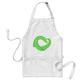 Lime green heart dragon on white standard apron