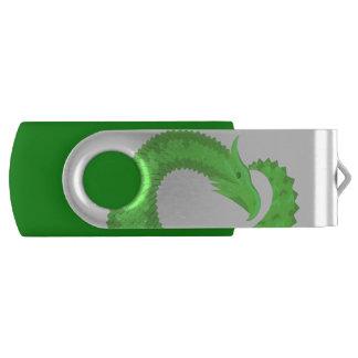 Lime green heart dragon USB flash drive