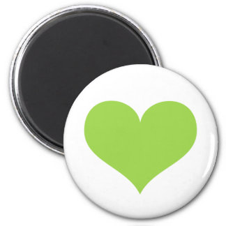 Lime green heart love or Valentines day 6 Cm Round Magnet