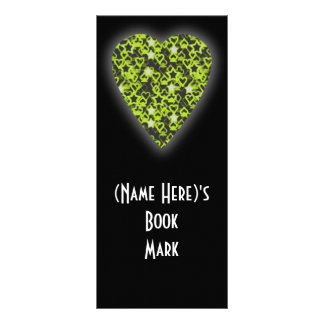 Lime Green Heart. Patterned Heart Design. Personalised Rack Card