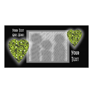 Lime Green Heart. Patterned Heart Design. Photo Cards