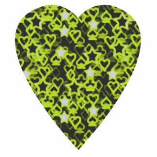 Lime Green Heart. Patterned Heart Design. Cut Out