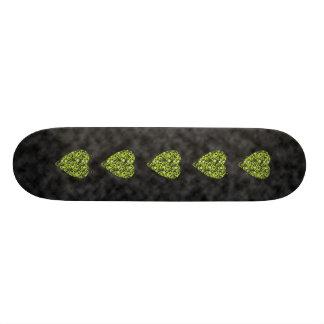 Lime Green Heart. Patterned Heart Design. Skate Board Decks