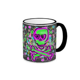 Lime Green Hot pInk Skull Colorful Cosmos Coffee Mug