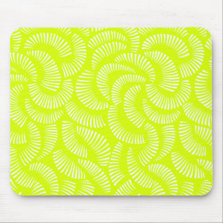 Lime Green Japanese Tropical Fan Pattern Flower Mouse Pad