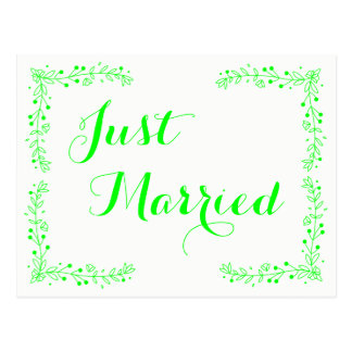 Lime Green Just Married Wedding Floral Leaves Postcard