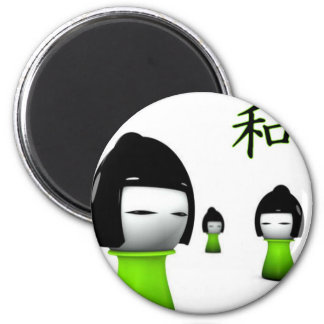 Lime Green Kanji Collection 6 Cm Round Magnet