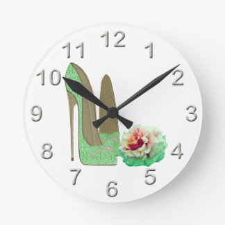 Lime Green Lace Stiletto Shoes and Rose Art Wallclock