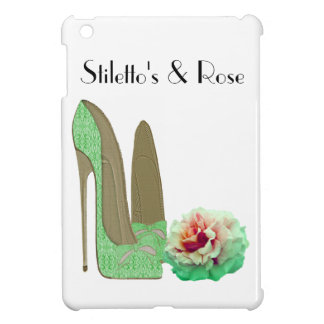Lime Green Lace Stiletto Shoes and Rose Art iPad Mini Cover