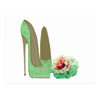 Lime Green Lace Stiletto Shoes and Rose Art Postcard