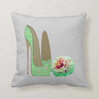Lime Green Lace Stiletto Shoes and Rose Pillow