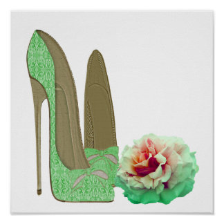 Lime Green Lace Stiletto Shoes and Rose Poster
