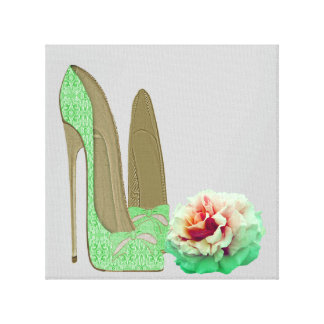 Lime Green Lace Stiletto Shoes and Rose Prints