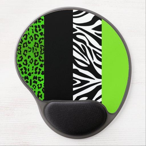 Lime Green Leopard and Zebra Animal Print Gel Mousepads