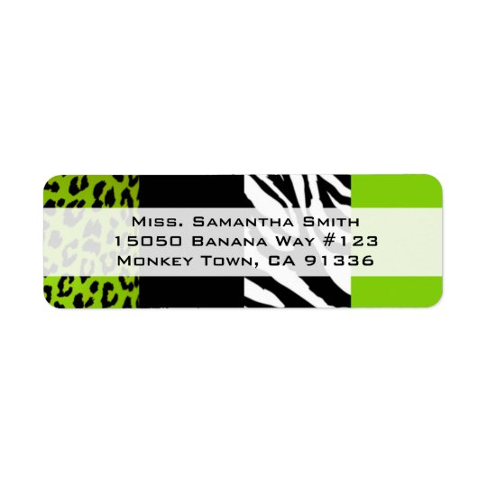 Lime Green Leopard and Zebra Animal Print Return Return Address Label