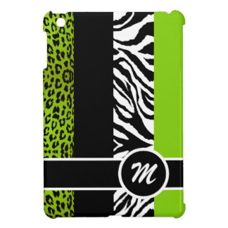 Lime Green Leopard and Zebra Monogram Animal Print Case For The iPad Mini