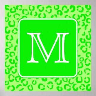 Lime Green Leopard Print Custom Monogram.