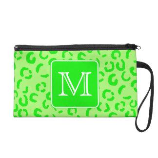 Lime Green Leopard Print Custom Monogram. Wristlet Purses