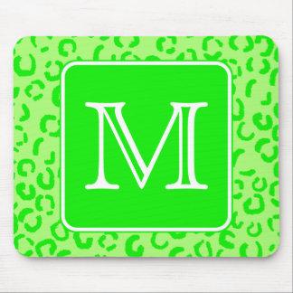 Lime Green Leopard Print Custom Monogram Mouse Pad