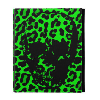 Lime Green Leopard print gothic skull iPad Cases