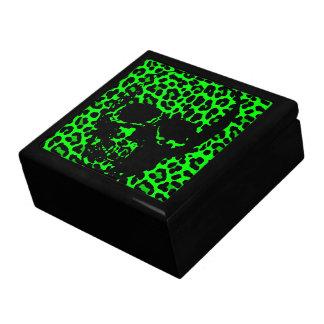 Lime Green Leopard print gothic skull Gift Box