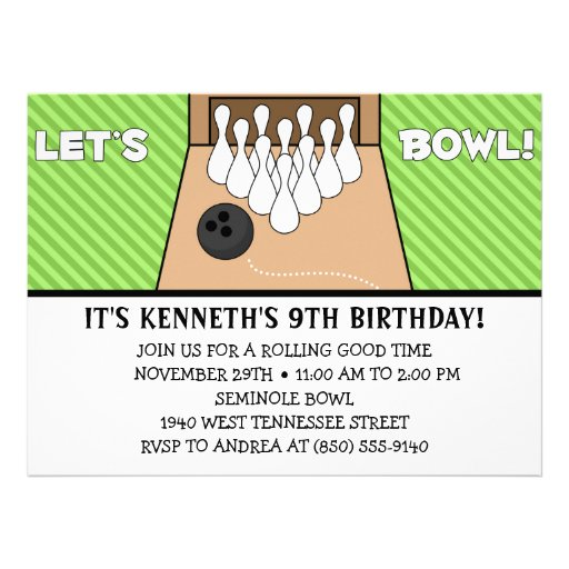 Lime Green Let's Bowl Bowling Birthday Party Announcement