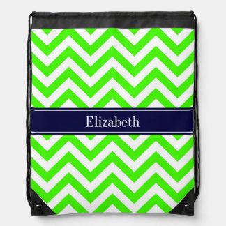 Lime Green LG Chevron Navy Blue Name Monogram Drawstring Backpacks