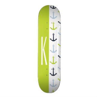 Lime Green, Light Blue, Navy, Nautical Anchors Skateboard Deck