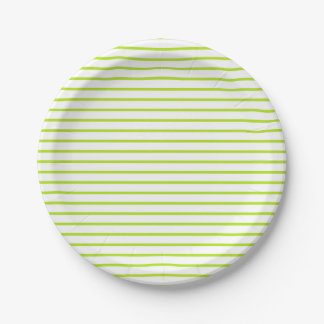 Lime Green Lines White 7 Inch Paper Plate